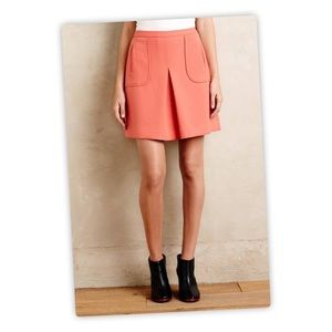 Anthro Coral Cheri Pleated Mini Skirt by Maeve